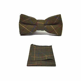 Bow Tie Set Square Pocket & patrimonio Check Regency verde maschile