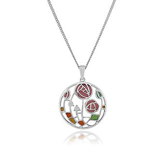 Rennie Mackintosh Round Topaz Rose Circle Pendant Necklace in 925 Sterling Silver 253N196301925