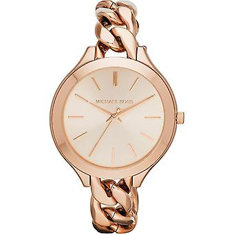 Michael Kors Ladies Watch Rose Gold Tone Runway Chain Strap MK3223