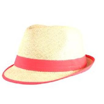 Straw Fedora Hat with Neon Pink Trim