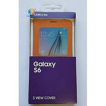 Original Samsung EF-CG920BOEG S-View Gewebe Book Hülle Cover für Galaxy S6 orange
