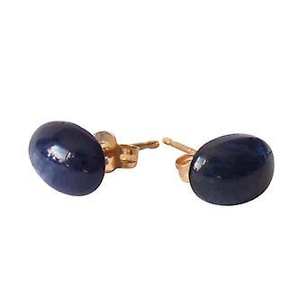Gemshine - ladies - korvakorut - kulta lautasellinen - safiiri - sininen - 7 mm