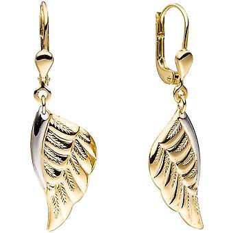 Engel Flügel Boutons Flügel Engelsflügel 333 Gold bicolor Ohrringe Ohrhänger