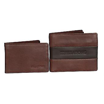 2 Billabong Leather Wallets With RFID protection ~ Tribong chocolate