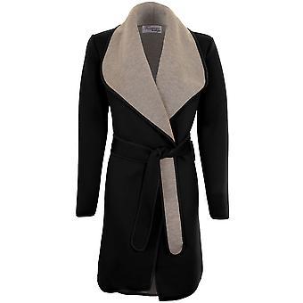 Длинный рукав дамы сложить воротник галстук вверх опоясанный серый контраст пленкой ПВХ пиджак