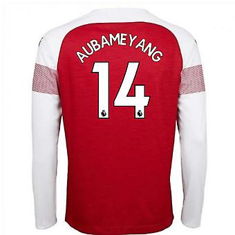 2018-2019 Arsenal Puma Home Long Sleeve Shirt (Aubameyang 14) - Kids
