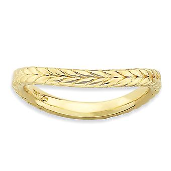 2.25mm 925 Sterling Silver Patterned Stackable Expressions Polished 14k Gold PlatedWave Ring Jewelry Gifts for Women - R