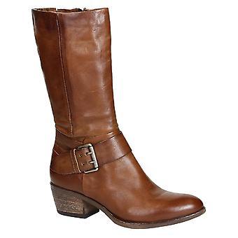 Kvinners vestlige støvler i tan italiensk skinn