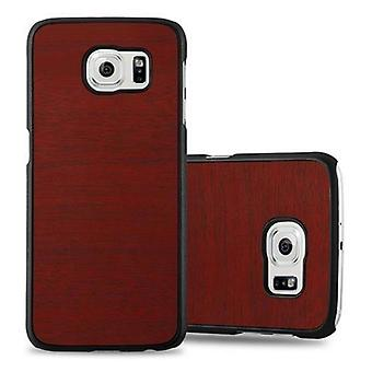 Cadorabo sleeve for Samsung Galaxy S6 - hard case phone cover in vintage wood optics - cover of bumper back case cover