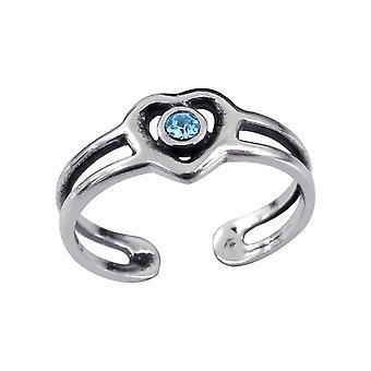 Heart - 925 Sterling Silver Toe Rings - W3833X