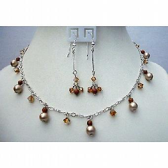 Powder Almond Pearls Swarovski Smoked Topaz Satin Crystals Gold Beads
