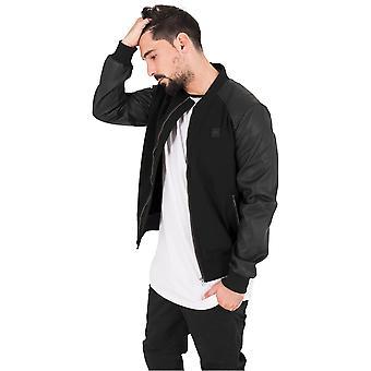 Urban classics men's bomber jacket cotton bomber leather imitation sleeve