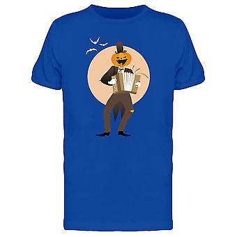 Pumpkin Man Playing Accordion Tee Men's -Image by Shutterstock