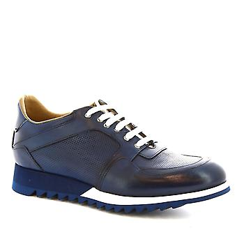 Leonardo Shoes Man's handmade lace ups shoes in blue calf leather