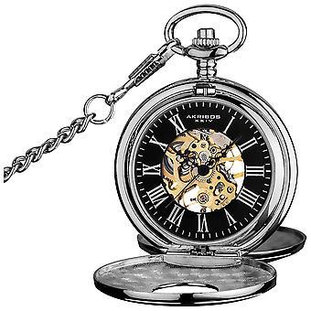 Akribos XXV AK609SSB Men es Antique Mechanical Skeleton Chain Pocket Silver-Tone Watch