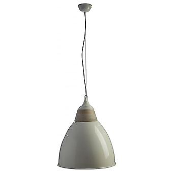 Fusion Living Large Iron And Wood Domed White Pendant