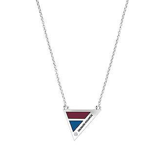 Colorado Avalanche Engraved Sterling Silver Diamond Geometric Necklace In Red & Blue