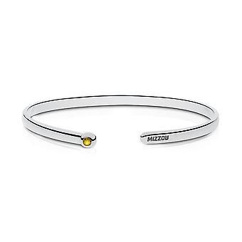 University Of Missouri Engraved Sterling Silver Yellow Sapphire Cuff Bracelet