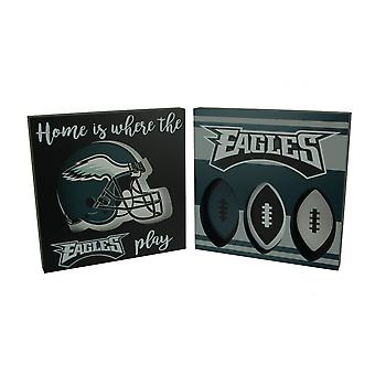 NFL Philadelphia Eagles Cut Out Helmet and Football Shapes Wall Hangings
