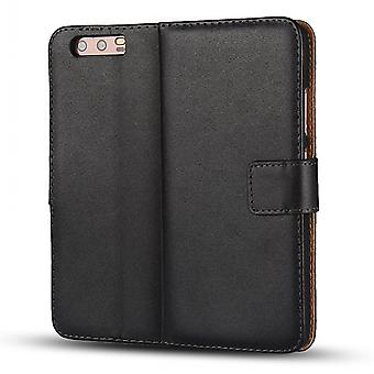 Wallet Case Huawei P10 Plus, genuine leather, black