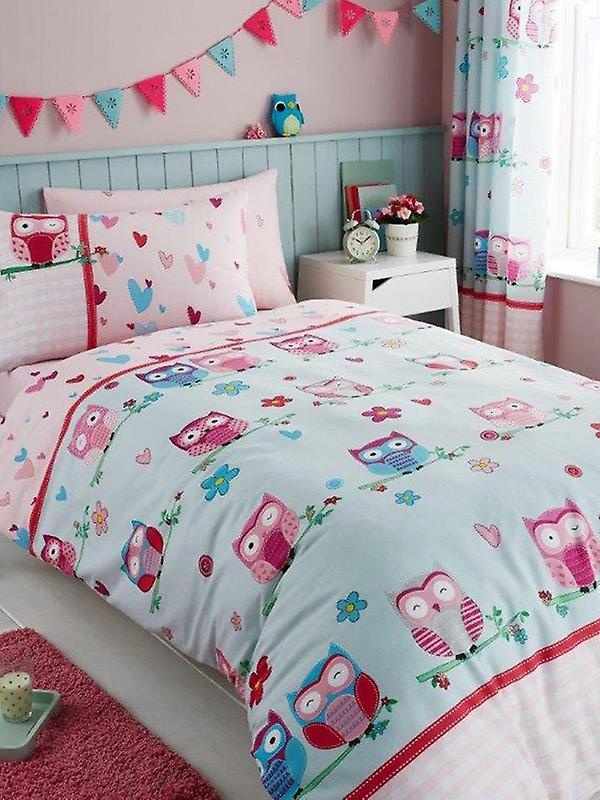 Owls and Hearts Single Duvet Cover and Pillowcase Set