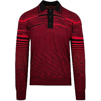 MISSONI Red & Black Striped Knitted Polo Shirt