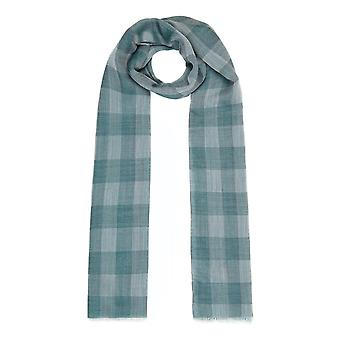 Lightweight check wool and silk scarf - green