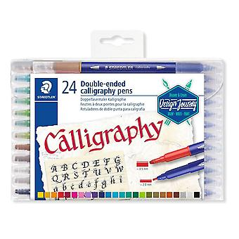 Staedtler Double-Ended Calligraphy Pen Set Of 24 Assorted Colours