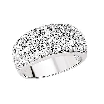 Jewelco London Rhodium Plated Sterling Silver Round Brilliant Cubic Zirconia Pave Bombay Eternity Ring