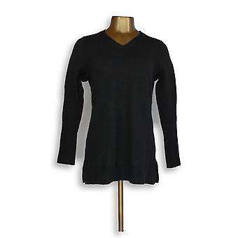 Isaac Mizrahi Live! Kvinner ' s genser 2-lags Cashmere V-hals svart A296236