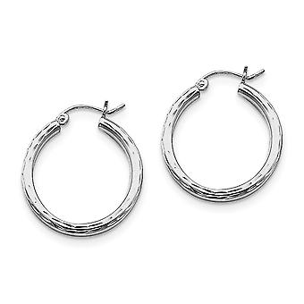 925 Sterling Silver Polished Hollow tube Hinged post Rhodium plated 2.25mm Sparkle Cut Hoop Earrings Jewelry Gifts for W