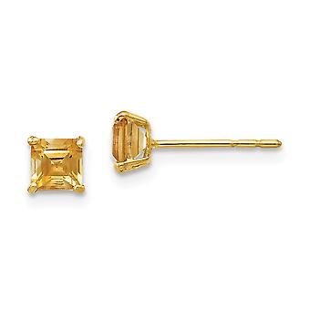 14k Yellow Gold Polished Citrine 4mm Square Post Earrings Jewelry Gifts for Women