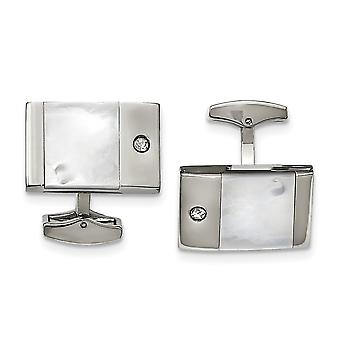 Stainless Steel Polished Simulated Mother of Pearl Cubic Zirconia Cuff Links Jewelry Gifts for Men