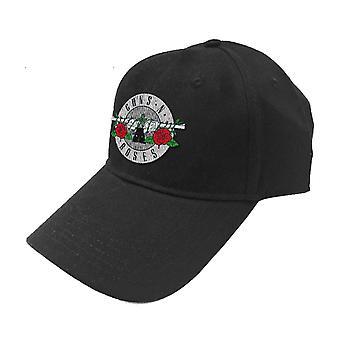 Guns N Roses Baseball Cap Silver Circle Patch Band Logo Official Black Strapback