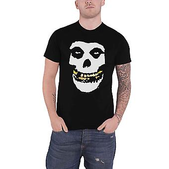 Misfits T Shirt Gold Foil teeth Skull Band Logo new Official Mens Black