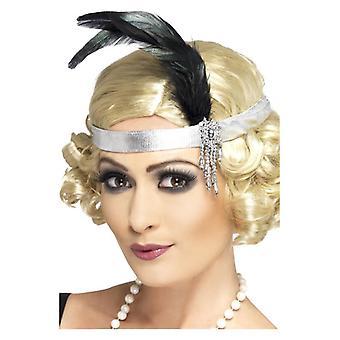 Damskie 1920 roku srebrny satyna Charleston pałąk Fancy Dress akcesorium