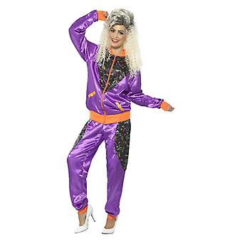 Las mujeres de los años 80 carcasa Retro púrpura traje traje
