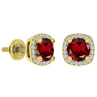 Dazzlingrock Collection 10K 5 MM Each Round Cut Garnet & White Diamond Ladies Halo Stud Earrings, Yellow Gold