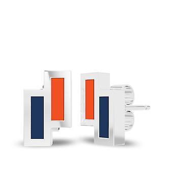 Universiteit van Virginia Sterling Zilveren Asymmetrische Email Stud Oorbellen in oranje en blauw