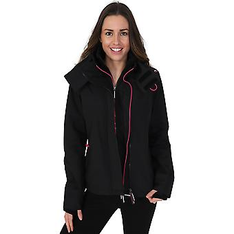 Superdry Women's Tech Pop Zip Hooded SD-Windcheater Black/Raspberry 50