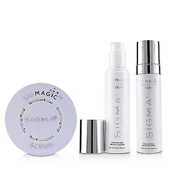 Sigma Beauty Brush Cleanser Trio (1x Sigmagic Scrub 1x Brushampoo Liquid 1x Brushampoo Foam) - 3pcs