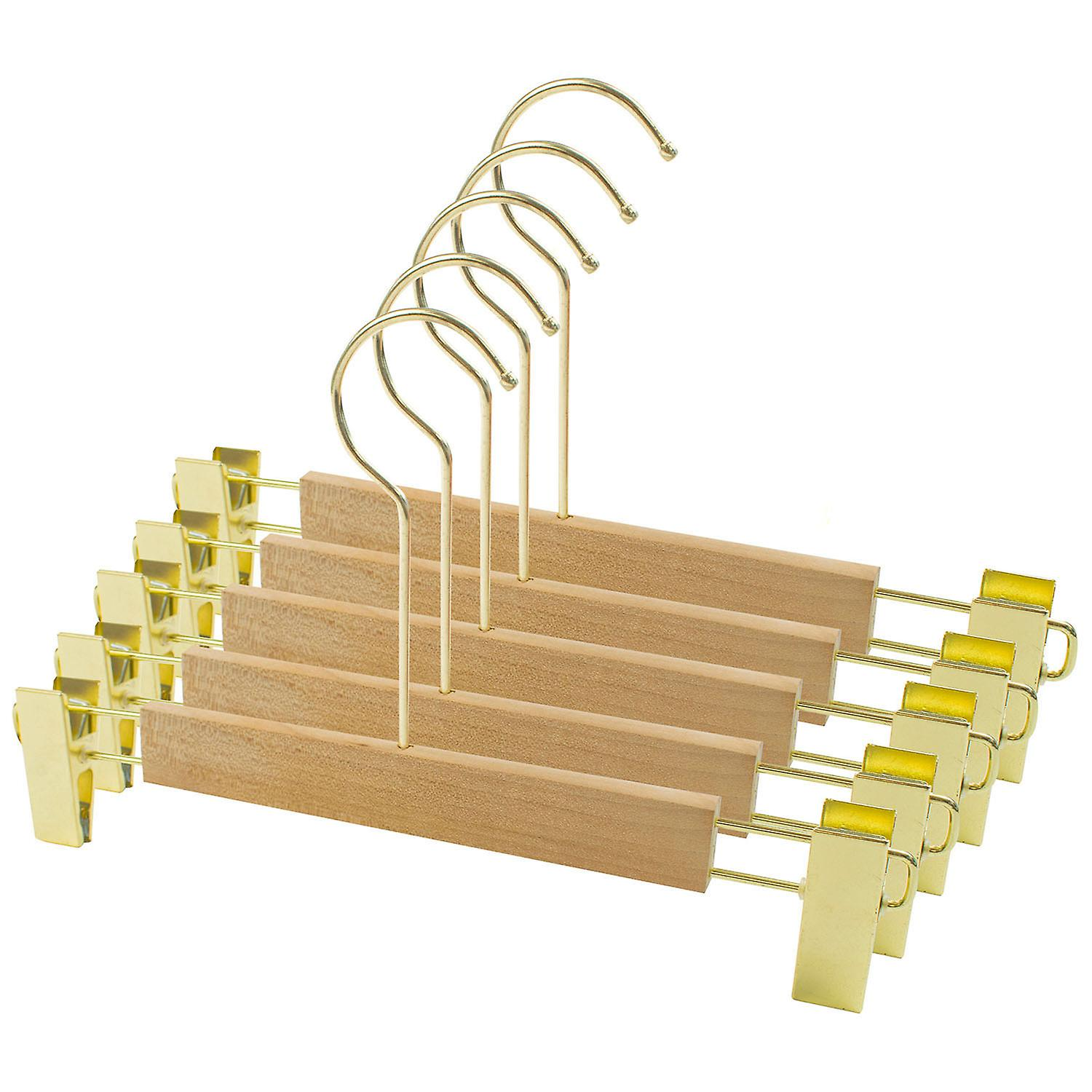 TRIXES 5PC Wooden Hanger Trouser Skirt Stylish Light Wood and Gold Metal Clips