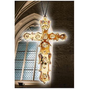 Schmuck und Kronen Halskette große Kreuz gold Kunststoff