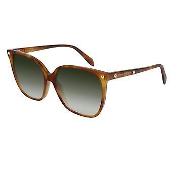 Alexander McQueen  Sunglasses Am0188s 003 59 Edge Light Havana And Green Square Ladies Sunglasses