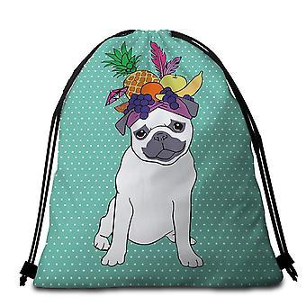Funny Fruit Pug Beach Towel