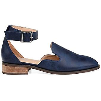 Brinley Co. Womens Square Toe Ankle Strap Flat Navy, 6.5 Regular US