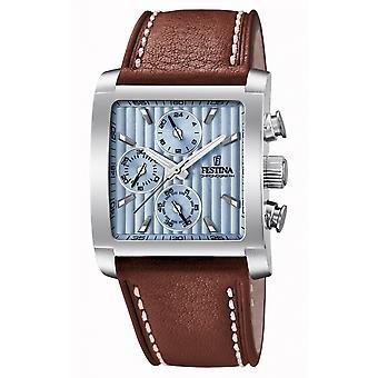 Festina F20424-1 Men's Square Brown Leather Wristwatch