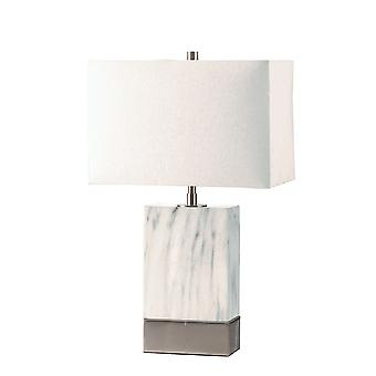 Contemporary Metal Table Lamp with Rectangular Fabric Shade, White and Silver