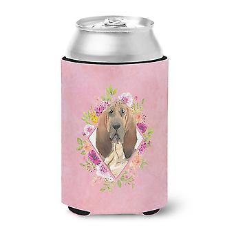 Carolines Treasures  CK4259CC Bloodhound Pink Flowers Can or Bottle Hugger