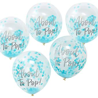 ABOUT TO POP! Printed Blue Confetti Balloons x 5 OH BABY Shower Boy!
